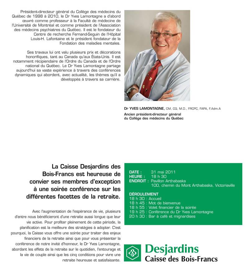Conférence du Dr Yves Lamontagne sur la retraite pour les Caisses populaires Desjardins